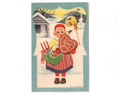 Vintage Swedish Christmas Card, Little Girl in Red Hat, Green Basket filled with Vegetables, Heart Shaped Gingerbread Cookie, Nordisk Konst