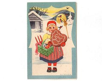 Vintage Swedish Christmas Card, Little Girl in Red Hat, Green Basket with Vegetables, Heart Shaped Gingerbread Cookie, Nordisk Konst, Used