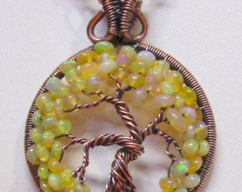 Petite Etiopian Opal and Antiqued Copper Wire Wrapped Tree of Life, Ethiopian Opal Tree, Opal Jewelry, Opal Necklace