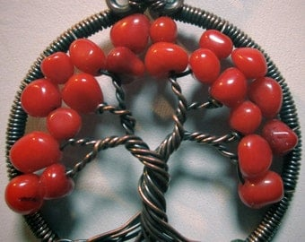 Red Coral and Peridot Antiqued Copper Wire Wrapped Tree of Life, Red Coral Tree of Life with Peridot Roots