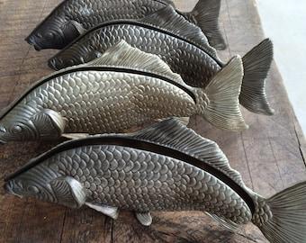 Lot of 4 Vintage MODELO DEPOSITATO Italy Silver plated Carp Koi Fish Napkin holder