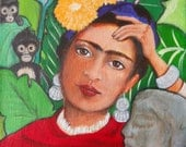 Frida Kahlo Acrylic Painting, Portrait, Canvas Painting, Monkeys, Mexico, Tropical Background, 8 x 10, Wall Art, Wall Decor