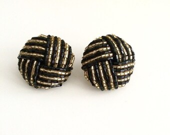 1980s Black & Gold Sequin Button Earrings
