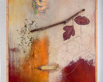 Original Mixed Media Artwork with Autumn Leaf- FREE SHIPPING