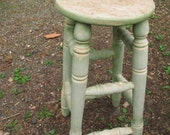 Great Old Green High Stool
