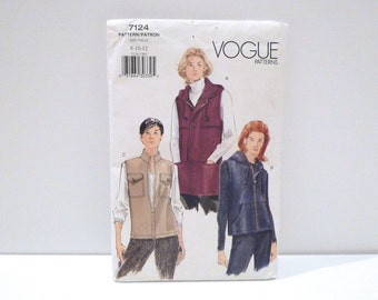 Hooded Vest Vogue 7124 Easy Sewing Pattern Never Used Hoodie Sleeveless Jacket Top FF uncut 1990s Sz 8 10 12 Lined Military Look Vest Sports