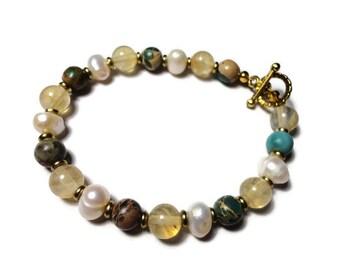 citrine variscite & pearl toggle energy bracelet