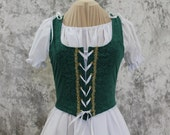 Forest Green Renaissance Costume-Halloween Costume-Medieval Bodice-LARP-Ren Fair-Steampunk-SCA-Adult Costume-Fantasy Skirt-Item #238