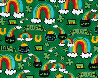 Pot O'Gold by Timeless Treasures, Lucky Fabric, Rainbow Fabric, Clover Fabric, Green Fabric, 145528