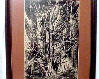 Amazing Large Original Woodcut Print Artist Turshina 1973, Fabulous!
