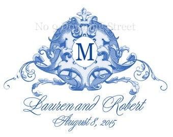 Wedding Monogram Crest Custom Created in Your Wedding Color, Personal Monogram,Wedding Logo, Digital Wedding Monogram,Wedding Crest by No. 9