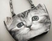 BB cat bag, bb cat tote, bb cat lover bag, bb cat portrait bag,bb cat print bag, bb pet lover bag, animal portrait bag, C012