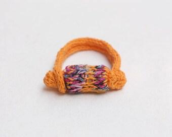 Knitted orange bracelet, OOAK fiber jewelry