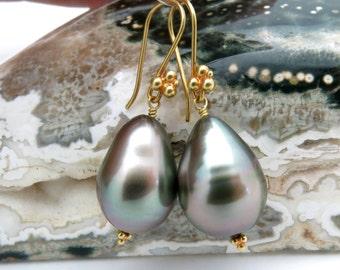 Stunning 18K Solid Gold Tahitian 11.5x16mm Luminous Peacock Cultured Pearl Earrings