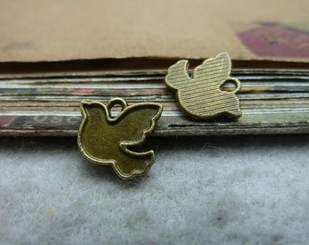 100pcs 12*14mm antique bronze bird charms pendant C7439