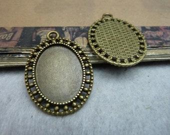 10pcs 25x18mm antique bronze cabochon pendant settings C8044
