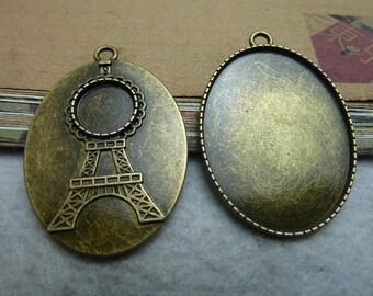 10pcs 40x30mm antique bronze cabochon pendant settings C7478