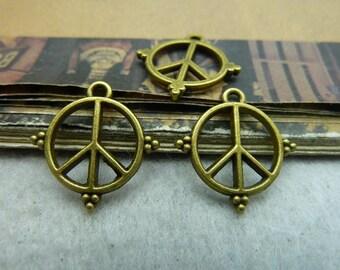 50pcs 17*18mm antique bronze peace symbol  charms pendant C5921