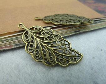 20pcs 16*32mm antique bronze leaf charms pendant C2446