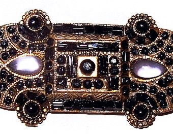 "Art Deco Brooch Black Cabs & Lavender Moonstones Bronze Gold Metal 2 1/4"" Vintage"
