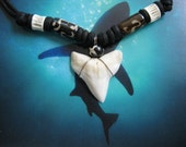"""Shark Tooth Necklace, Modern day Bull Shark tooth, Adjustable cord 16"""" to 26"""", Stainless Steel wire wrap"""