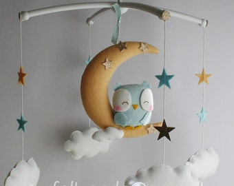 Pastel Baby Mobile, Moon Mobile, Baby Crib Mobile, Owl Mobile, Baby Mobile, Clouds Nursery Decor Gift Baby Birth List Felt Dolls Craft BB 7