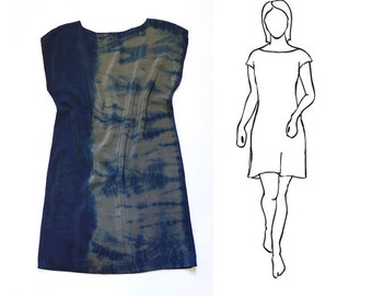 Natural Dye Silk mini Dress - Indigo tie dye