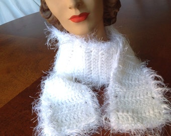 White Crochet Scarf, Soft Feathery Scarf