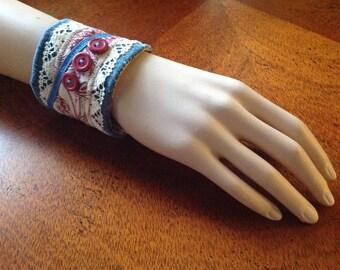 Fabric Wrist Cuff/Vintage Upcycled Wrist Cuff,Toille Wrist Cuff