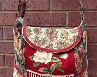 Upcycled Purse,Needlepoint Tapestry Boho Bag,OOAK purse,Gypsy bag,VintageNeedlepoint,Cross body purse,Carpet bag,Vintage Repurposed Purse