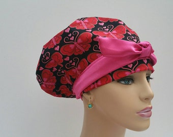 Handmade Woman Surgical Cap -  Butterfly Garden - Jeweled Wings -  Red / Black /Hot Pink - 100 % Cotton