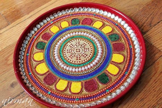 Pooja thali decorative henna mehndi peacock design like this item junglespirit Choice Image