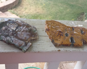 two lapidary slabs, one jasper mixed red brown and one jade speckled white brown  5.00 Each  or both for 8.00