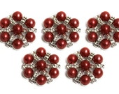 Metal Rhinestone Buttons - Pearl STAR button - 20mm - set of  FIVE - Red pearl