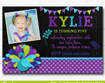 """Diy Blue, Purple & Green Peacock Inspired Birthday Party Digtial Printable 4""""x6"""" or 5""""x7"""" Invitation"""