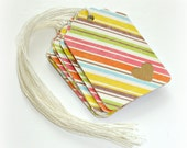 multicolored stripes gift tag set, merchandise tags, set of 12 gift tags, product tags, thank you tags, gift embellishment, favor tags