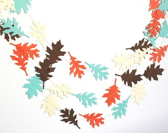 Fall leaves garland, Autumn garland, Woodland nursery decor, aqua blue coral creme and brown Woodland birthday party decor