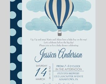 Up and Away Boys Baby Shower Invitation Classic Balloon Navy Blue Printable File or Printed Party Joyful Sprinkle Celebration Twins Invite