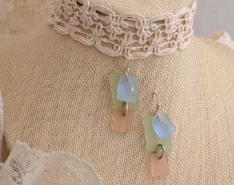 Pastel Tumbeled Glass Earrings.   FREE SHIPPING