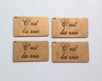4 x Antique brass C'est La Vie French phrase charms pendants