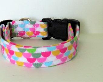 Pastel Dog collar, geometric print,  handmade dog collar, colorful dog collar