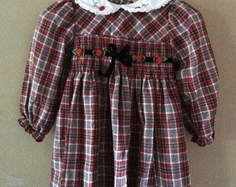 Vintage plaid smocked dress Dress 12-18 months