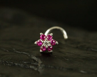 Fuschia CZ Gems flower nose stud/nose ring/nose screw