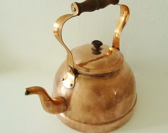 COPPER TEA KETTLE - Made In Portugal - Tin Lined - Wooden Handle & Knob