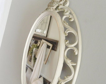 Vintage Oval Mirror White Gold Syroco Scrolled Ornate