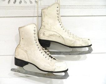 Vintage White Ice Skates Winter Decor