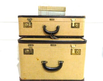 Vintage Luggage Set Oshkosh Tweed Leather Trim