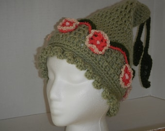 Whimsical Woodland Fairy Hat In Green and Pink Flowers