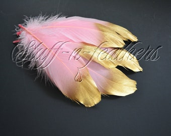 Gold Dipped feathers - Baby Pink GOOSE feathers with Gold Tips loose for millinery, crafts, wedding, 5-8 in (12.5-20 cm), 6 pcs / F196-6G