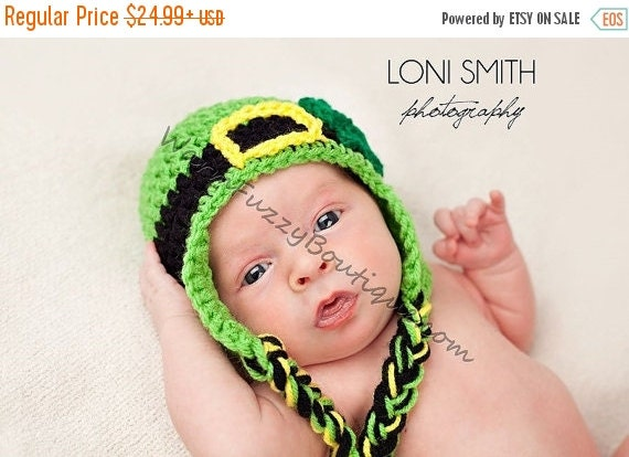SUMMER SALE Baby Leprechaun Earflaps Hat - Crochet Newborn Beanie Boy Girl Costume Winter  Photo Prop Cap Christmas Outfit